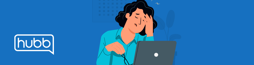 Illustration of woman sitting at a laptop looking fatigued.