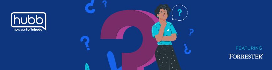 Illustration of a woman pondering and leaning against a giant question mark