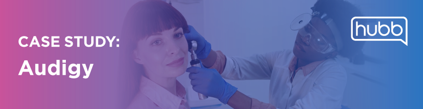 Case Study: Audigy. Image of audiologist examining a patient.