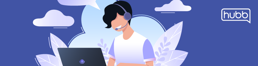 woman talking with a headset at a laptop graphic